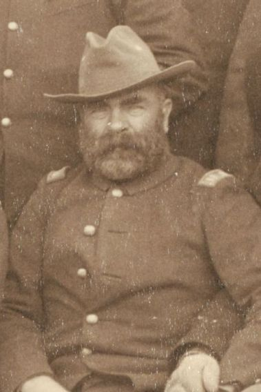 "Captain Myles Moylan, A Troop, 7th Cavalry, at Pine Ridge Agency, 16 Jan. 1891. Cropped from John C. H. Grabill's photograph, ""The Fighting 7th Officers."""