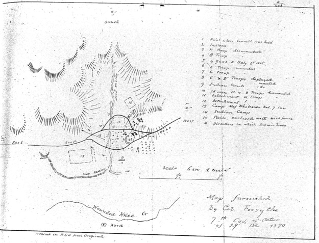 Map furnished by Col. Forsyth, 7th Cav., of action of 29th Dec. 1890.