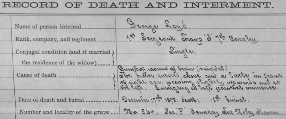 "The Record of Death shows that First Sergeant Loyd states, ""The bullet entered above and a little in front of right ear, passing slightly upwards and to the left, emerging at left parietal eminence."""