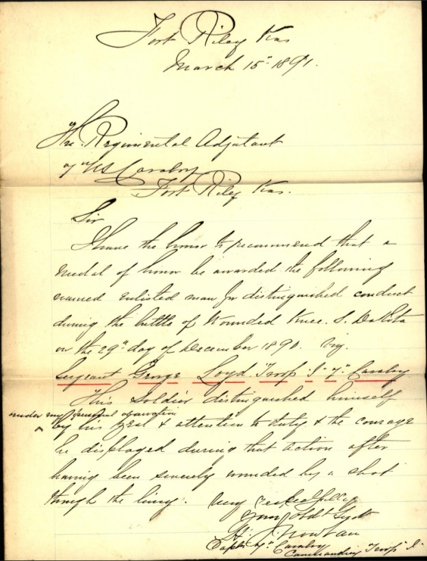 """This soldier distinguished himself under my personal observation by his zeal & attention to duty & the courage he displayed during that action after having been severely wounded by a shot through the lung."""