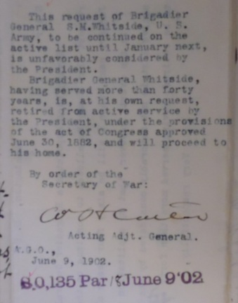 Adjutant General Officer, 9 Jun 1902 - Retirement Order