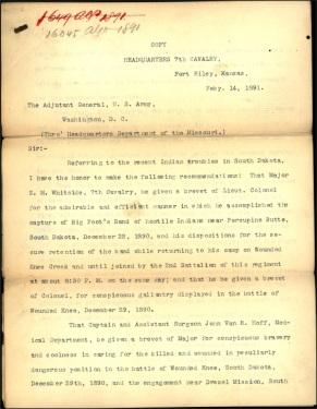 Forsyth recommendation of brevet 14 Feb 1891 page 1 - Whitside, Van R. Hoff, Capron, Varnum, Nowlan