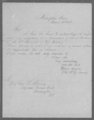 Myles Moylan's letter accepting a commission in the 5th Cavalry. He states that he was born in.