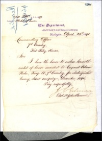 (Click to enlarge) The War Department mailed Corporal Neder's medal to the regimental commander on 25 April 1891.