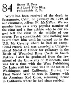 Albert W. McMillan's death announcement ran in the February 1949 Princeton Alumni Weekly.