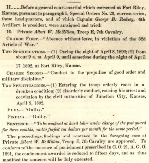 Private McMillan plead guilty to all charges at his court martial in April 1892.