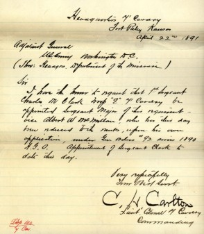 Sergeant Major Albert W. McMillan was reduced to the rank of Private at his own request in April 1891.