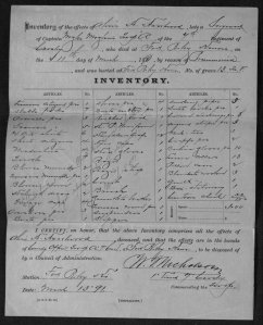 The Inventory of Effects of Sergeant Haselwood includes a notation indicating that all of the effects were turned over to his brother, W. K. Haselwood on 13 March 1891.