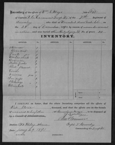 Captain Varnum completed an inventory of Private William S. Mezo's personal effects at the end of January 1891 and forwarded them to Mezo's father at Fitzgerald, Illinois