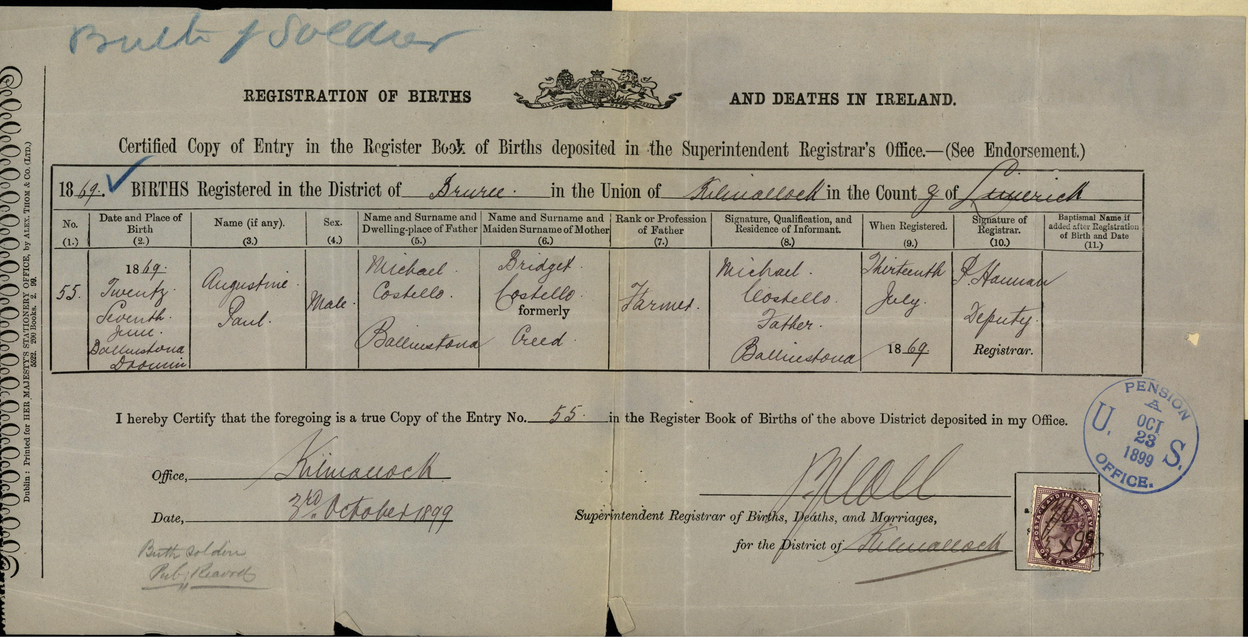 Private john costello b troop 7th cavalry killed in action this birth certificate submitted to the commissioner of pensions shows that costellos first name was actually aiddatafo Image collections