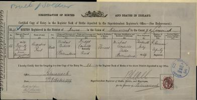 This birth certificate submitted to the Commissioner of Pensions shows that Costello's first name was actually Augustine and that he was only eighteen at the time of his enlistment.[x]