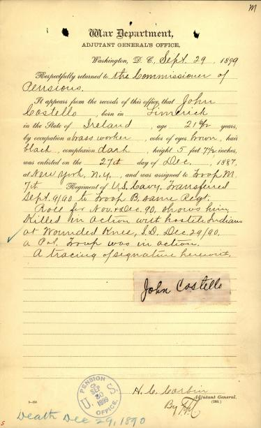 Record from the War Department to the Commissioner of Pensions detailing the service of Private John Costello.[6]