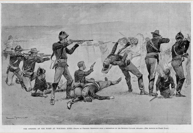 The Opening of the Fight at Wounded Knee