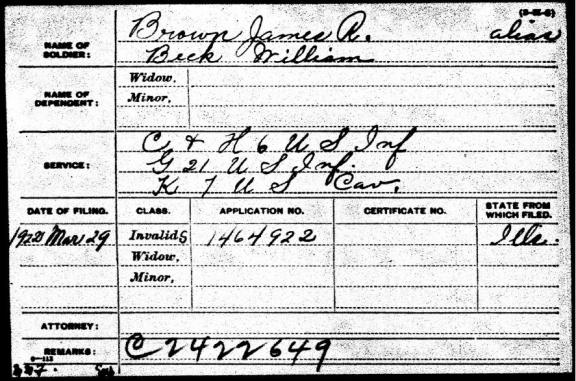 William Beck's pension application indicates that he served under the alias James R. Brown with K Troop 7th Cavalry.[5]