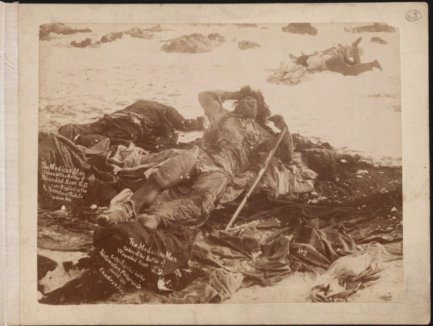 This photograph, taken in January 1891, was probably the Indian shooting from the Sibley tent that Lieut. Mann described in detail. The photograph is credited to L. T. Butterfield of Chadron, Nebraska.