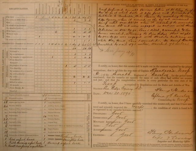 The Recapitulation and Record of Events Page of Captain Jackson's C Troop, 7th Cavalry Regiment's Muster Roll of December, 1891.