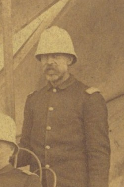 Captain Henry Jackson in camp at a target range at Fort Riley, Kansas, in 1888.