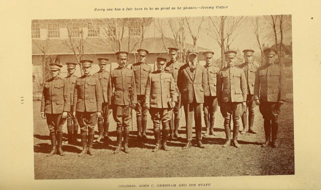Colonel John C Gresham and Staff at Univ of Denver 1918