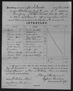 Captain Jackson's inventory of Private DeVreede's personal effects states that he died from a gunshot wound to the chest.
