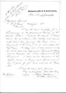 Lieutenant Henry Jackson's letter requesting a commission upon in activation of the 5th U.S. Colored Cavalry.[x]