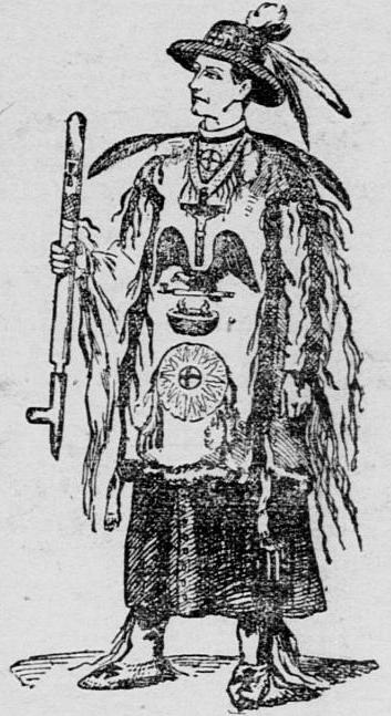 "This sketch of Father Craft appeared on the front page San Francisco's The Morning Call.  The caption read, ""Rev. Father Francis M. Craft as 'Hovering Eagle,' Chief of the Dakotas, addressing the Indians in council."""