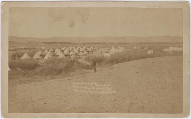 "George E. Trager's 29 Dec. 1890 photograph titled ""Birds eye view of 7th Cav Camp at Wounded Knee S.D. before the fight with Chief Big Foots Band."""