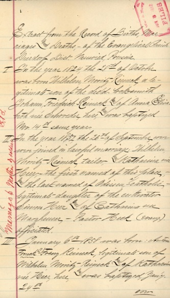 The Evangelical Parish of Dierdorf, Prussia listing Franz Anton the son of Wilhelm Moritz Reineck and Katharina Heer.[6]