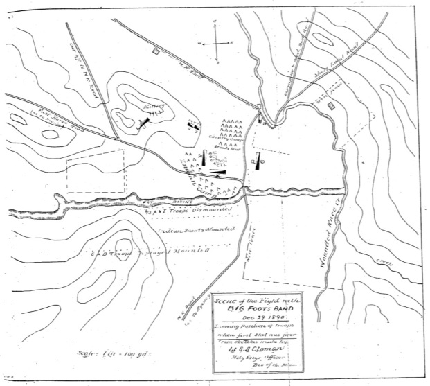Lieutenant Sydney A. Cloman's original map of the Wounded Knee Battlefield