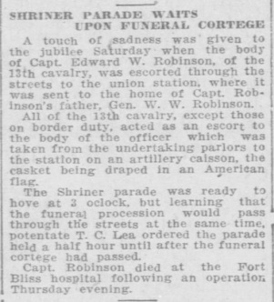 News article from the 28 October El Paso Herald detailing the funeral cortege of Captain Edward W. Robinson.
