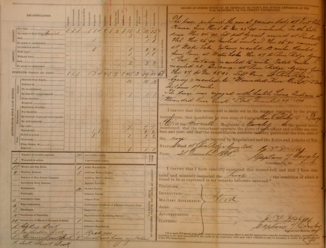 The Recapitulation and Record of Events Page of A Troop, 7th Cavalry Regiment's Muster Roll of December, 1891.