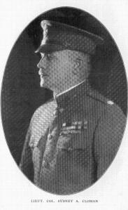 Lieutenant Colonel Sydney Amos Cloman, circa 1919.