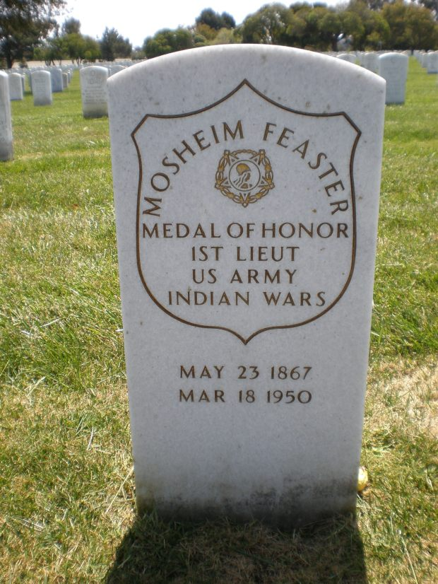 First Sergeant Mosheim Feaster is buried in the Golden Gate National Cemetery in San Bruno, California. His headstone erroneously lists him as a First Lieutenant.[16]