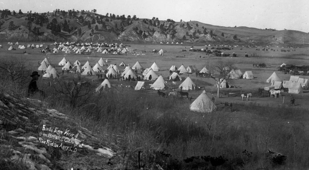 """Birds Eye View of Gen Brooks Camp at Pine Ridge Agcy S. D."" from the Denver Public Library Digital Collections. The view includes the camp of the 2nd Infantry."