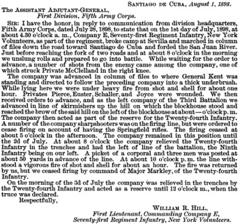 First Lieutenant William R. Hill's report of Company E's actions at Santiago, Cuba.