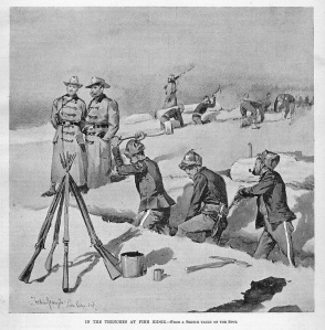 "Frederic Remington's ""In the Trenches at Pine Ridge"" appeared on the cover of Harper's Weekly Magazine at the end of January 1891."