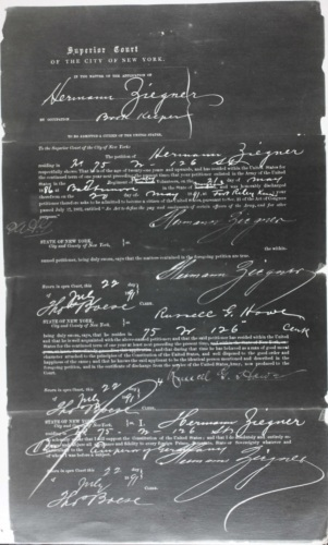 Hermann Ziegner applied for naturalization on 22 July 1891 indicating that he resided at 75 West 126th Street where he was employed as a book Keeper.
