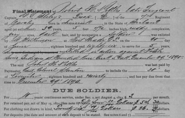 Sergeant Robert H. Nettles final statement made out by Captain C. S. Ilsley lists the soldier's city of birth as Limerick, but at least one other enlistment record states he was born in Cork, Ireland.
