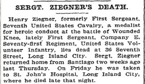 Sergeant Ziegner's death was run in several New York Newspapers.[12]