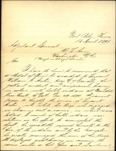(Click to enlarge) Lieutenant S. Rice's letter recommending Sergeant Austin be awarded a Medal of Honor.