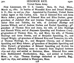 Sedgwick Rice was a member of the Empire State Society of the Sons of the American Revolution.