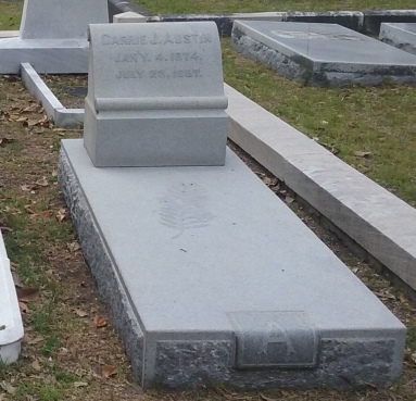 William G. Austin's first wife, Caroline J. Ratz, is buried in the Laurel Grove North Cemetery in Savannah, Georgia.[13]