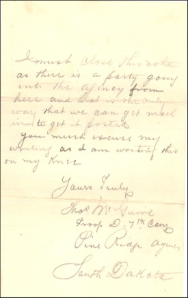 (Click to enlarge) page 4 of McGuire's 10 January 1891 letter.