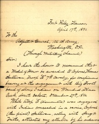 Page 1 of Lieutenant Sickel's letter detailing Private Sullivan's actions.
