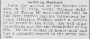 (Click to enlarge) First Sergeant Thomas Sullivan retired from the Army at Fort Bliss, Texas in June 1912.