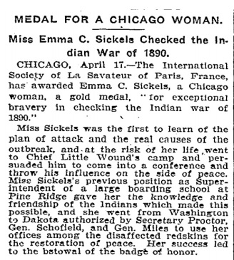 Medal for a Chicago Woman - NYTimes 19020418