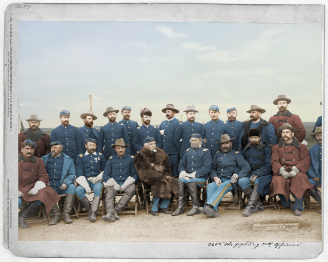 Fighting 7th Officers - J. C. H. Grabill - colorized by Amy Gigliotti
