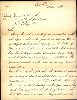 Nowlan letter commending Sickel - 8 Oct 1891 page 1