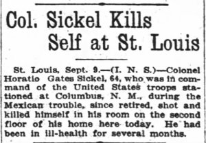 Col. Sickel Kills Self at St. Louis - The Oregon Daily Journal 19180909