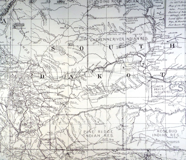 "(Click to enlarge) Section of ""Map of the Pine Ridge & Rosebud Indian Reservations and Adjacent Territory,"" prepared by the Department of the Platte Engineer Office from 1890 authorities.[2]"
