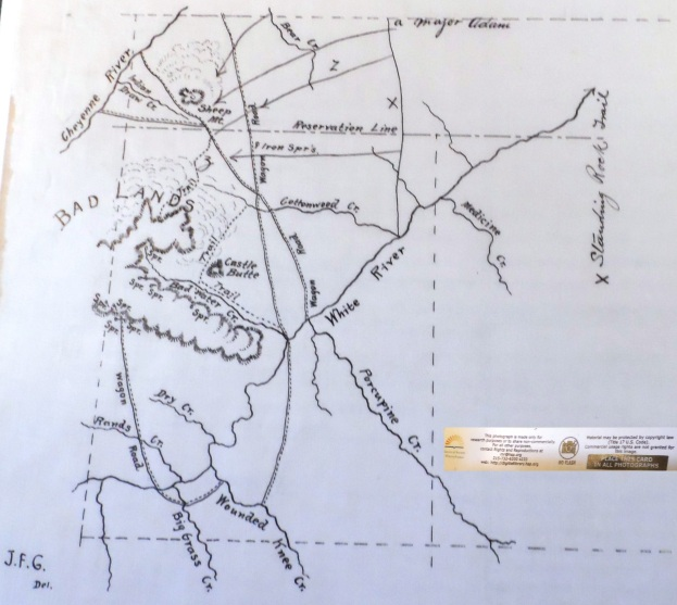 (Click to enlarge) Maj. Henry's map of the Indian stronghold.